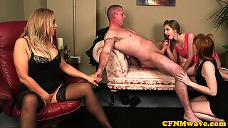 Uk CFNM babes tug dick after an office party